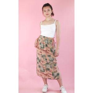 (622) VTG 1980s Tropical Printed Midi Skirt